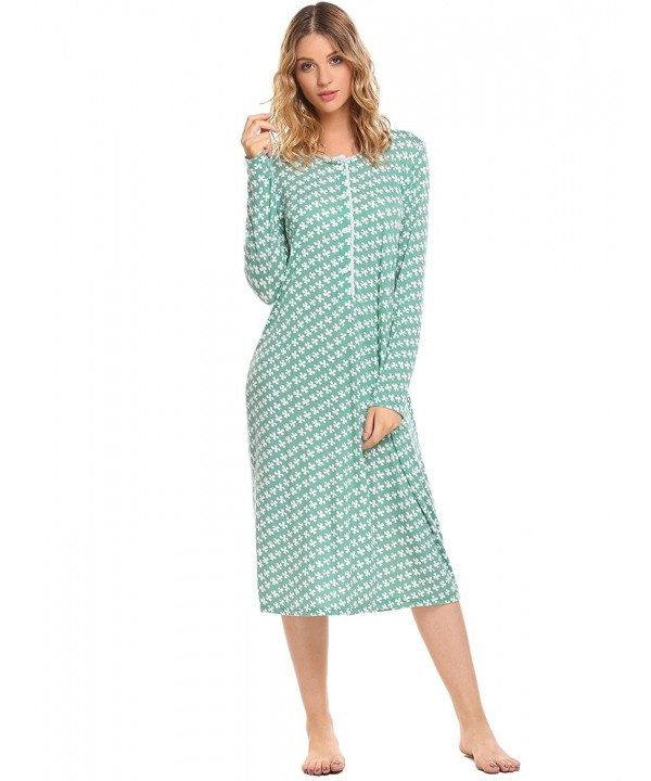 9ca5e1710009 Women s Cotton Knit Nightgown Long Sleeve Sleep Dress Lounge Dress ...