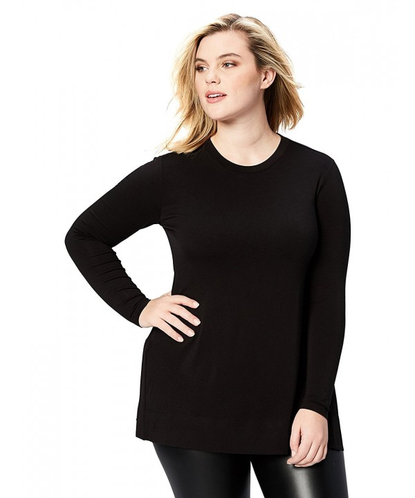 Daily Ritual Womens Long Sleeve Split Hem