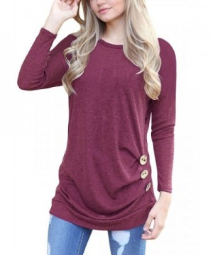 Shegalen Womens Sleeves Buttons T Shirt