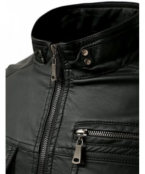 72890bfac71f Mens Long Sleeve Premium Stand Collar Zip Up Faux Leather Jacket ...