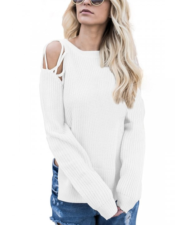 Dokotoo Crewneck Shoulder Pullover Sweater