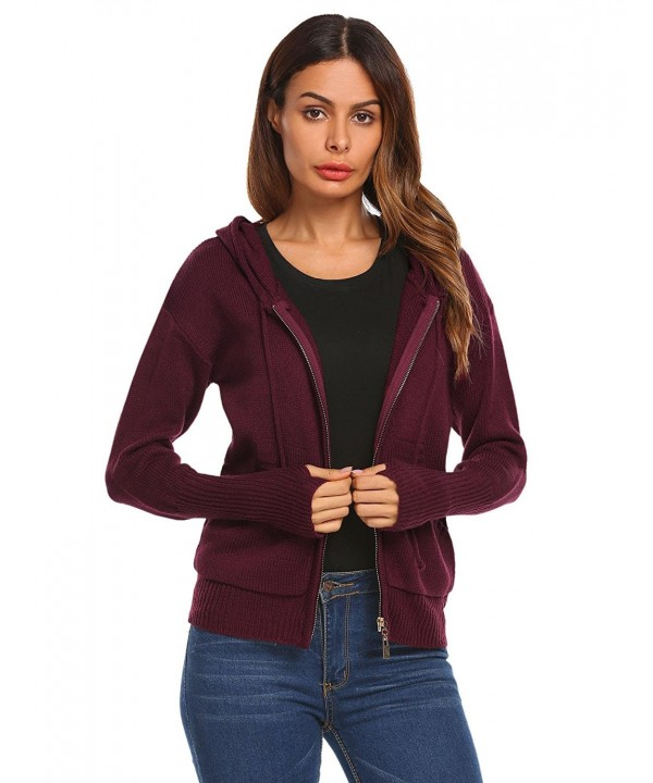 Mofavor Kangagoo Drawstring Jackets Wineberry