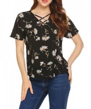 Pinspark Womens Crisscross Blouses T Shirts
