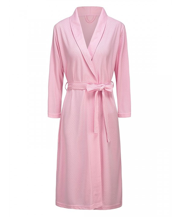 e1bd6dd5aed4 VI VI Womens Soft Kimono Bathrobe Dressing Gown Lightweight Knee ...