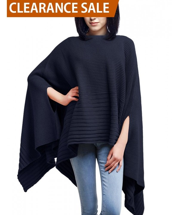 DELUXSEY Loose Ponchos Pullovers Sweaters