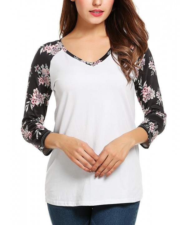 361d9832a23 Women s 3 4 Sleeve V Neck Top Floral Printed Raglan Shirt Blouses ...