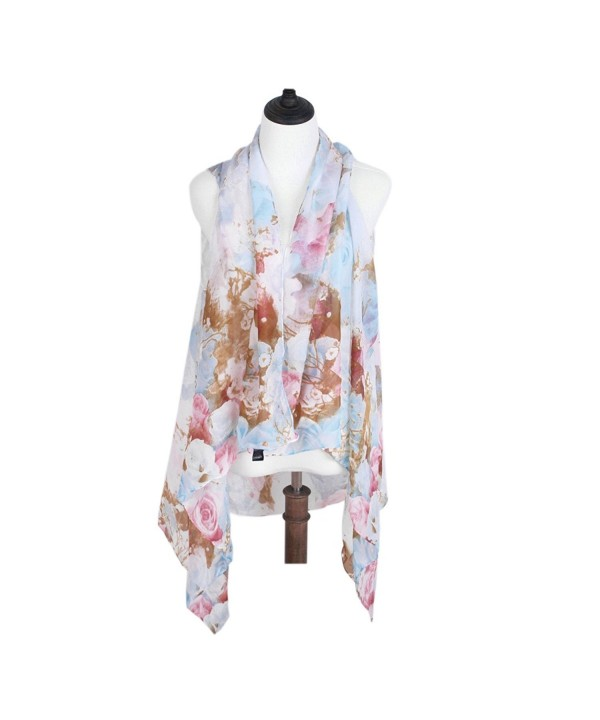 TrendsBlue Floral Chiffon Kimono Scarf