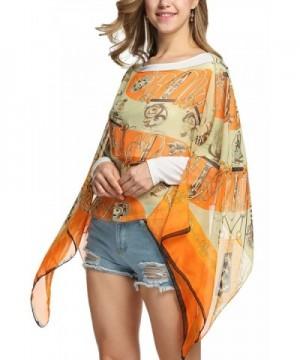 Womens Paisley Print Chiffon Poncho Batwing Sleeve Tunic Top Orange Cc12kmfhsdb