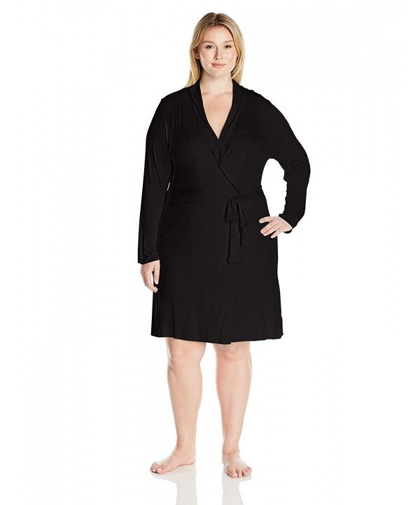 Women\'s Plus Size Short Robe - Black - CR12OCFB9IC