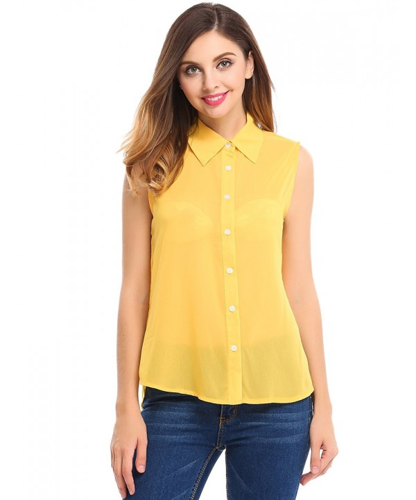 BEAUTYTALK Womens Blouses Sleeveless Chiffon