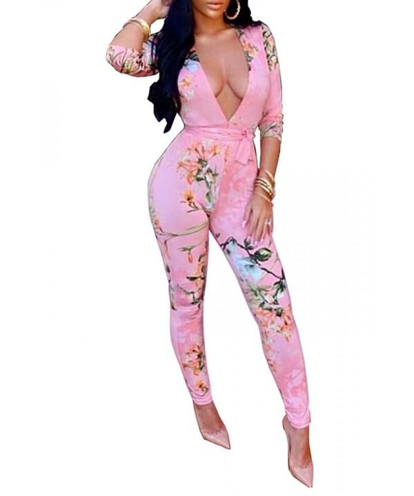 FOUNDO Sleeve Floral Bodycon Jumpsuit