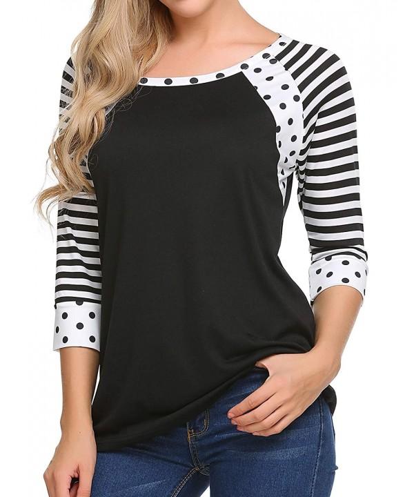 CNlinkco Womens Sleeve Striped T Shirt