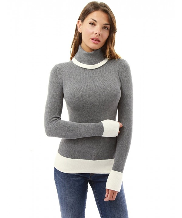 PattyBoutik Womens Block Turtleneck Sweater