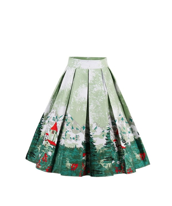 Wellwits Womens Christmas Vintage Pleated