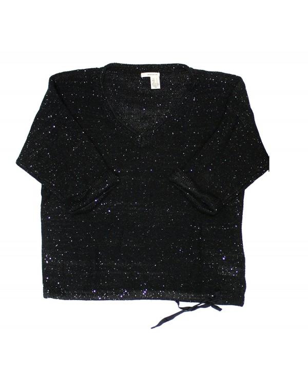 DKNY Sequin V Neck Sweater Black