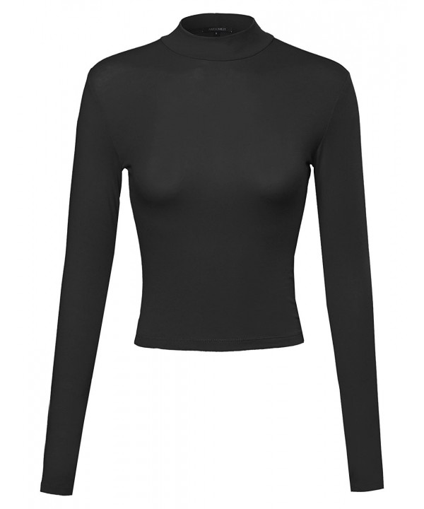 Awesome21 Basic Cotton Sleeves Mock Neck