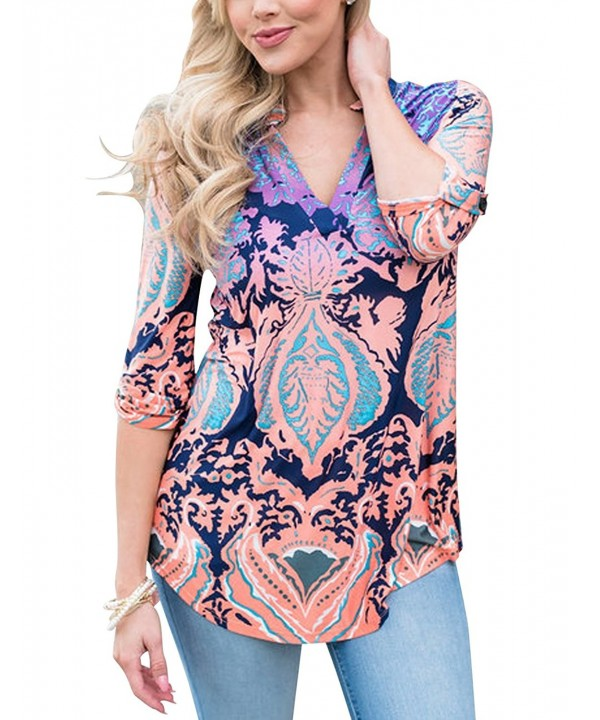 MEROKEETY Womens Floral Damask Blouses