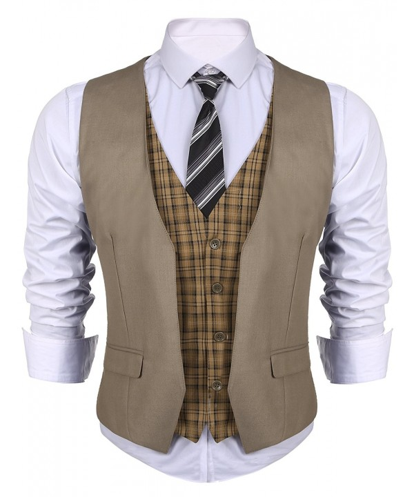 COOFANDY layered Patchwork Wedding Waistcoat