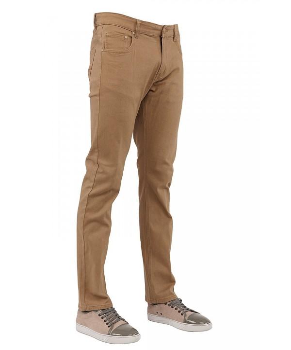 Perruzo Mens Jeans 34x30 Khaki