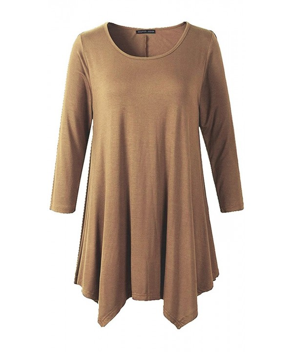 Ecupper Women Sleeve Irregular Coffee