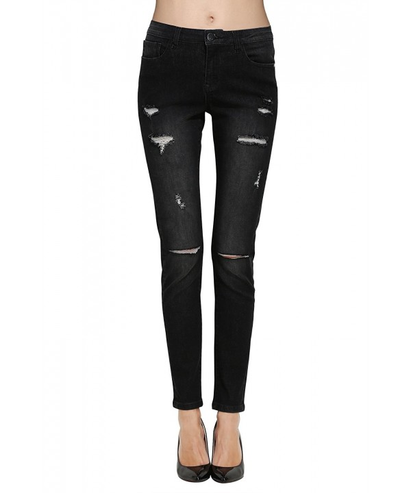ZLZ Destroyed Distressed Stretch Leggings