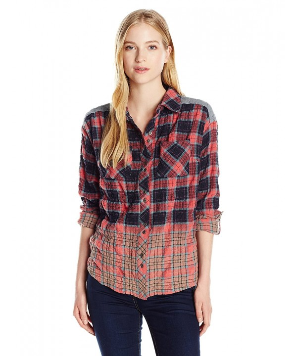 Miss Me Womens Ombre Plaid