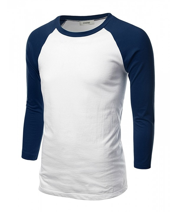 IDARBI Sleeve Baseball T Shirt WHITENAVY