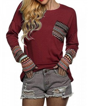 Casual T Shirt Blouse Patchwork Pattern