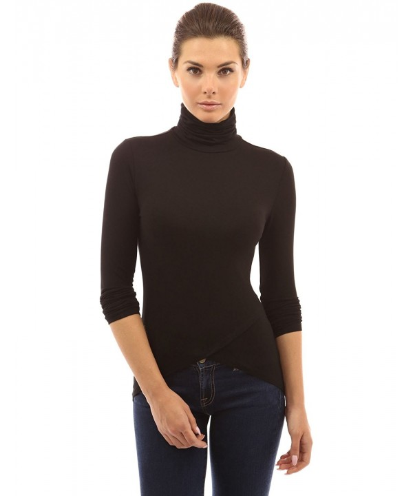 PattyBoutik Womens Turtleneck High Low Blouse