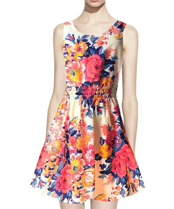 Betusline Sleeveless Printed Chiffon Sundress