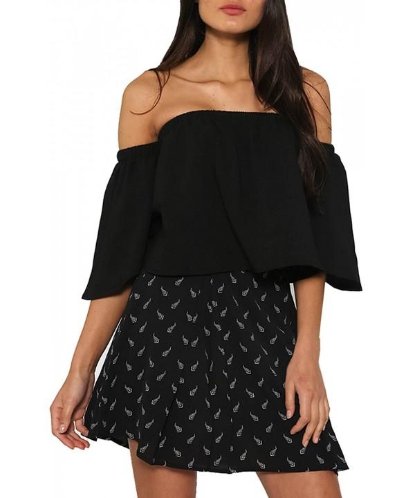 Relipop Womens Shoulder Strapless Blouses
