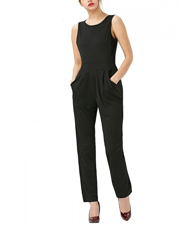 GUANYY Casual Jumpsuit Sleeveless Backless