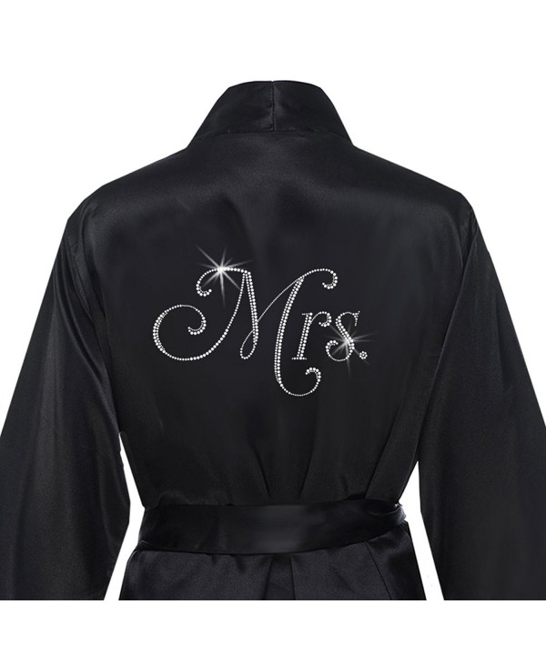 Satin Mrs Bridal Robe Rhinestones