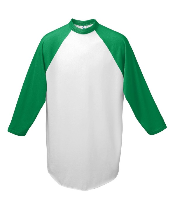 Augusta Baseball Jersey Raglan sleeves White Green Adult MD