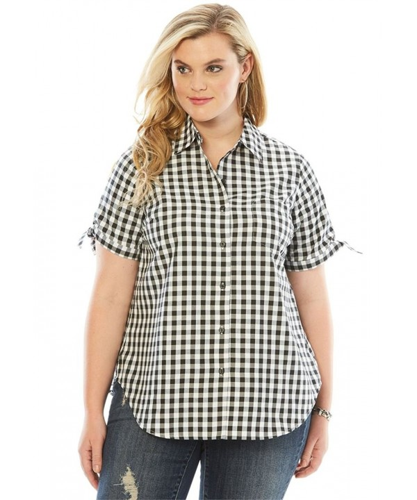 Womens French Check Shirt Black