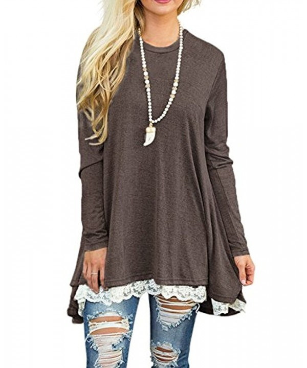 Womens Long Sleeve Loose Lace Stitching Dress Casual Tunic Tops Blouses Coffee Ch187a7r56x