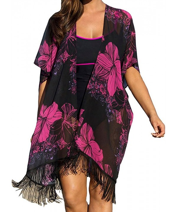 Women Plus Size Chiffon Floral Swimsuit Cover Up Black Cb12grkk1qb