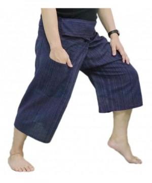 Fisherman Pants Trousers Cotton Stripe Dark