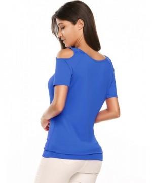 27fbac395ce609 Women's Cut Out Shoulder Short Sleeve T Shirt Tops Blouse - Lake ...