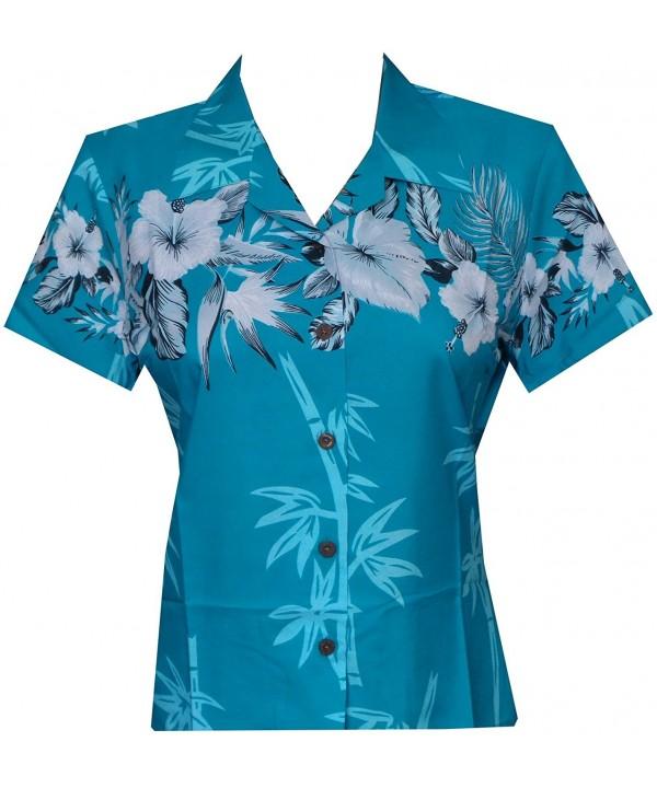 Alvish Hawaiian Bamboo Blouse Turquoise