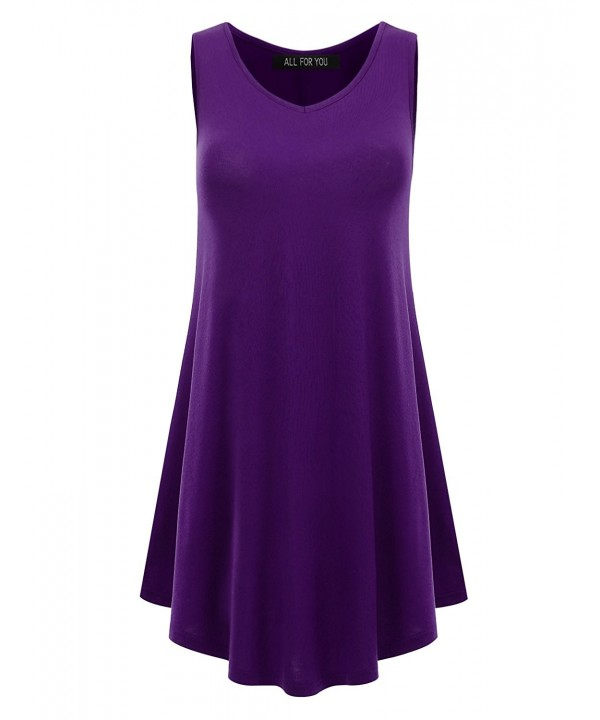 F Y Womens Sleeveless V Neck Eggplant