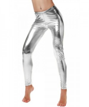 Nihoe Womens Metallic Leggings Silver