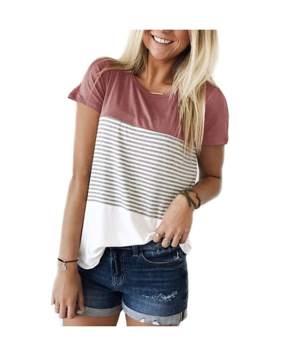 KABUEE Womens Sleeve Stripe Casual