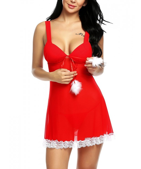 aec233d60d Womens Christmas Lingerie Red Santa Babydoll Sheer Lace Chemise Set ...