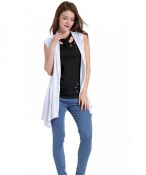 ICOCOPRO Womens Lightweight Cardigan drape White S