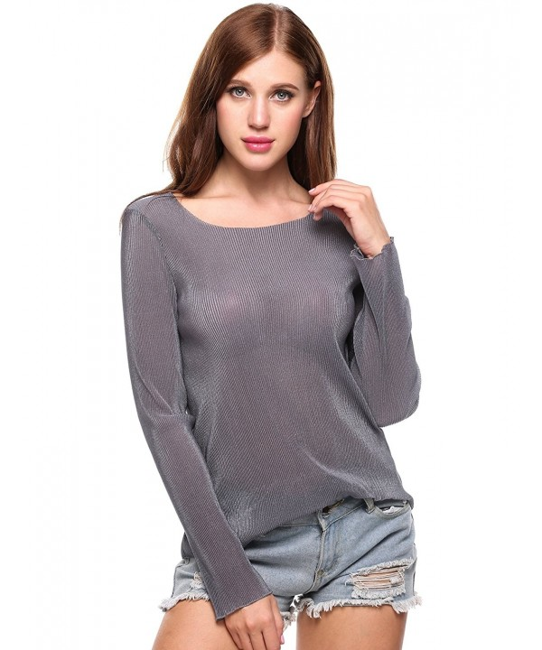 Meaneor Womens Summer Ruffled Blouses Gray