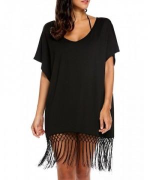 Womens Batwing Sleeve Swimsuit Tassel