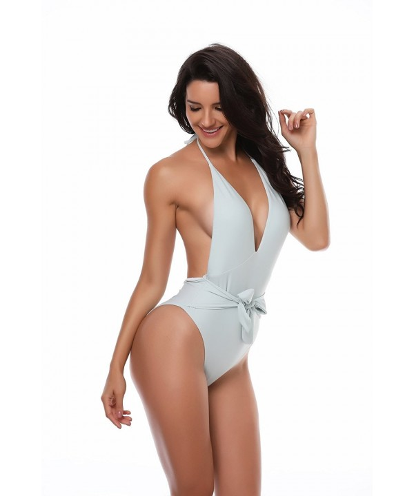 YOU Backless Monokini One Piece Turquoise