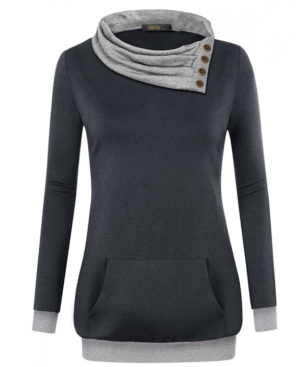 a181d2141 Women's Long Sleeve Cowl Neck Pullover Casual Tunic Sweatshirt With ...