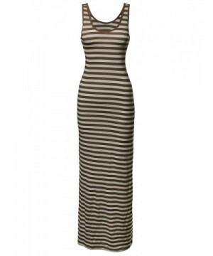 Stripe Sleeveless Tanktop Dresses Beige